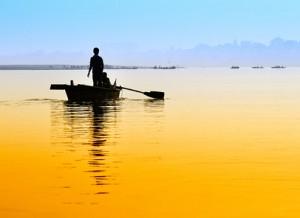 Boat on sunset.