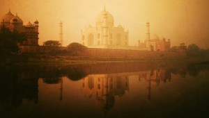 Golden Textured Picture Of Taj Mahal Scenery